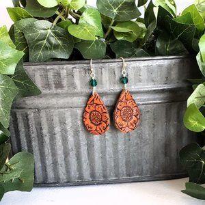 Tooled Leather & Crystal Fishhooks